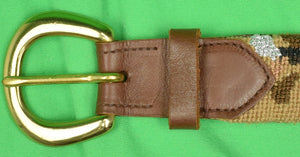 Hand-Needlepoint Golf Bag Khaki Belt