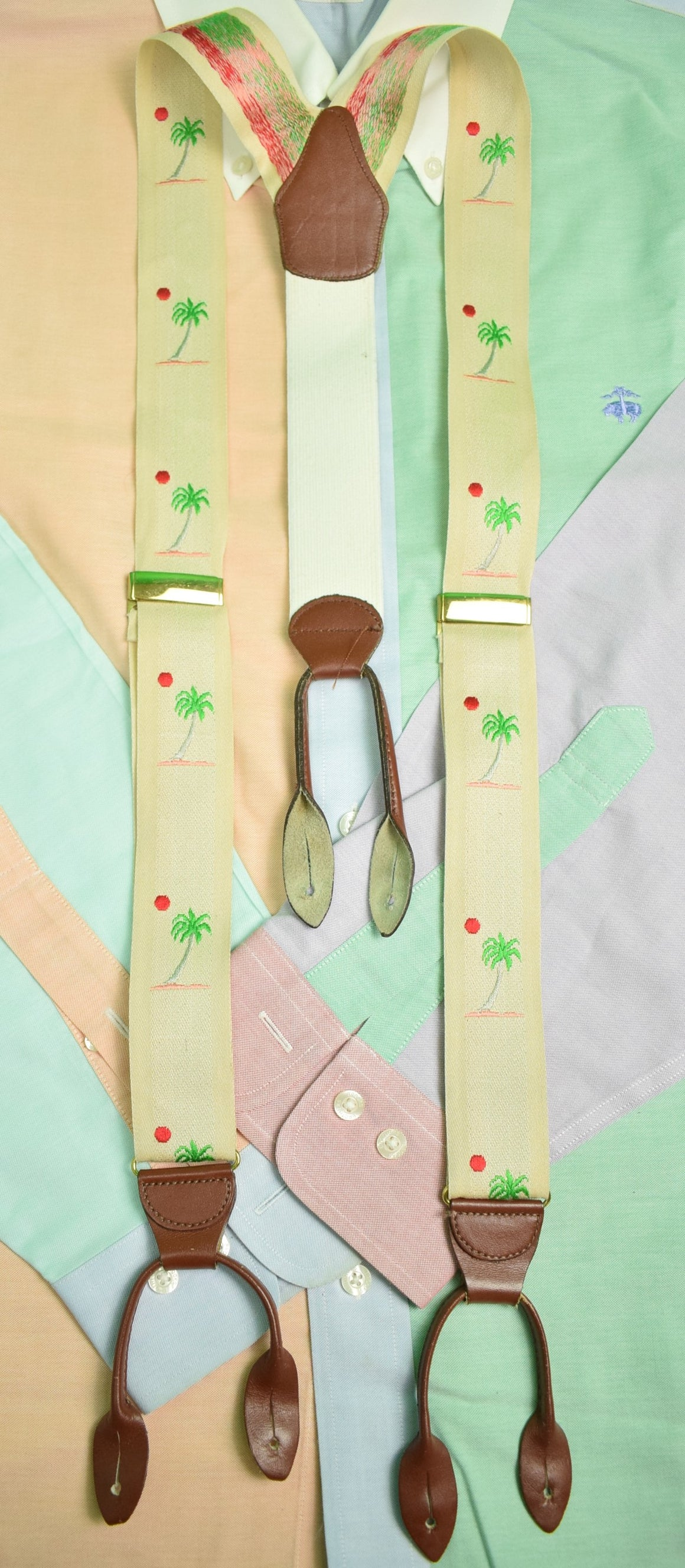 Pink & Green Palm Tree English Braces