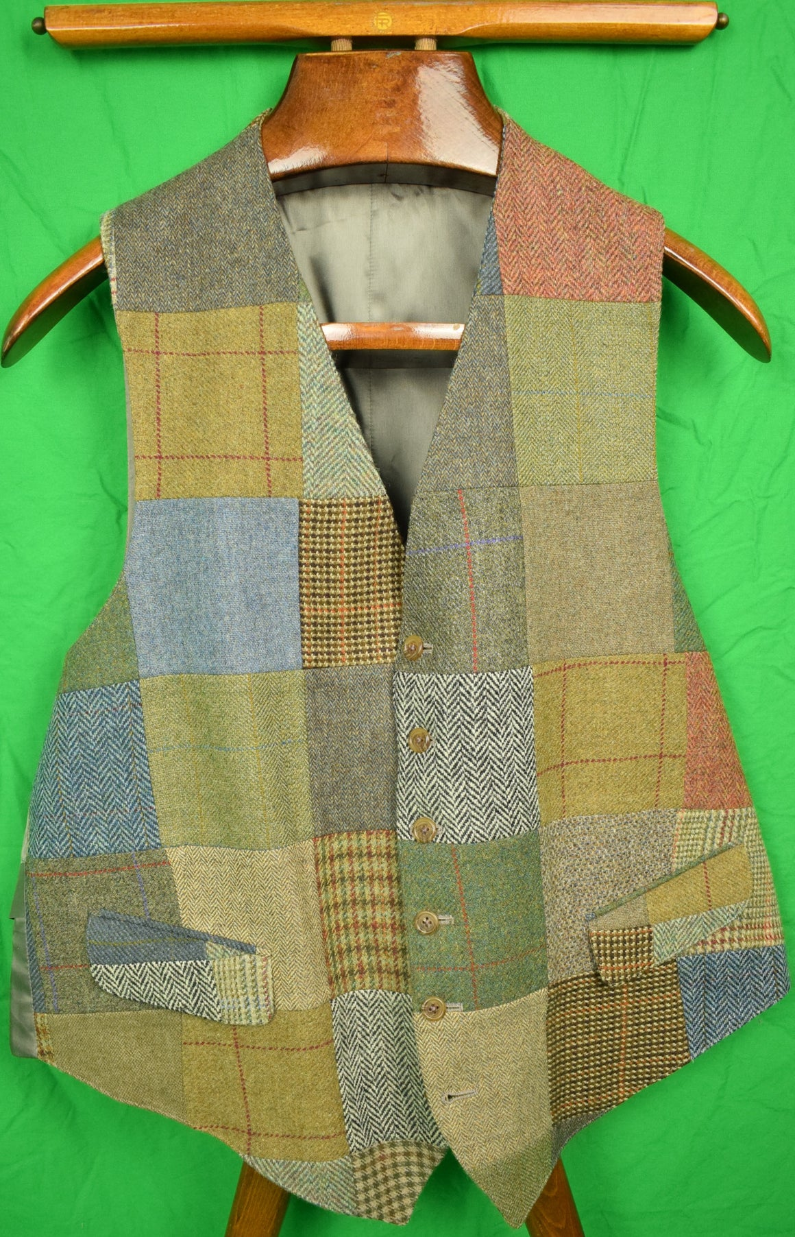 The Andover Shop Patch Wool Tweed Vest Sz: 46L