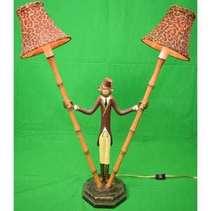 Pair of Monkey 'Bellhop' Metal Bamboo Table Lamps w/ Leopard Print Felt Shades New!