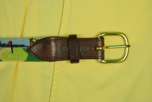 "Hand-Needlepoint Golf Course Motif Belt Sz: 38""W"