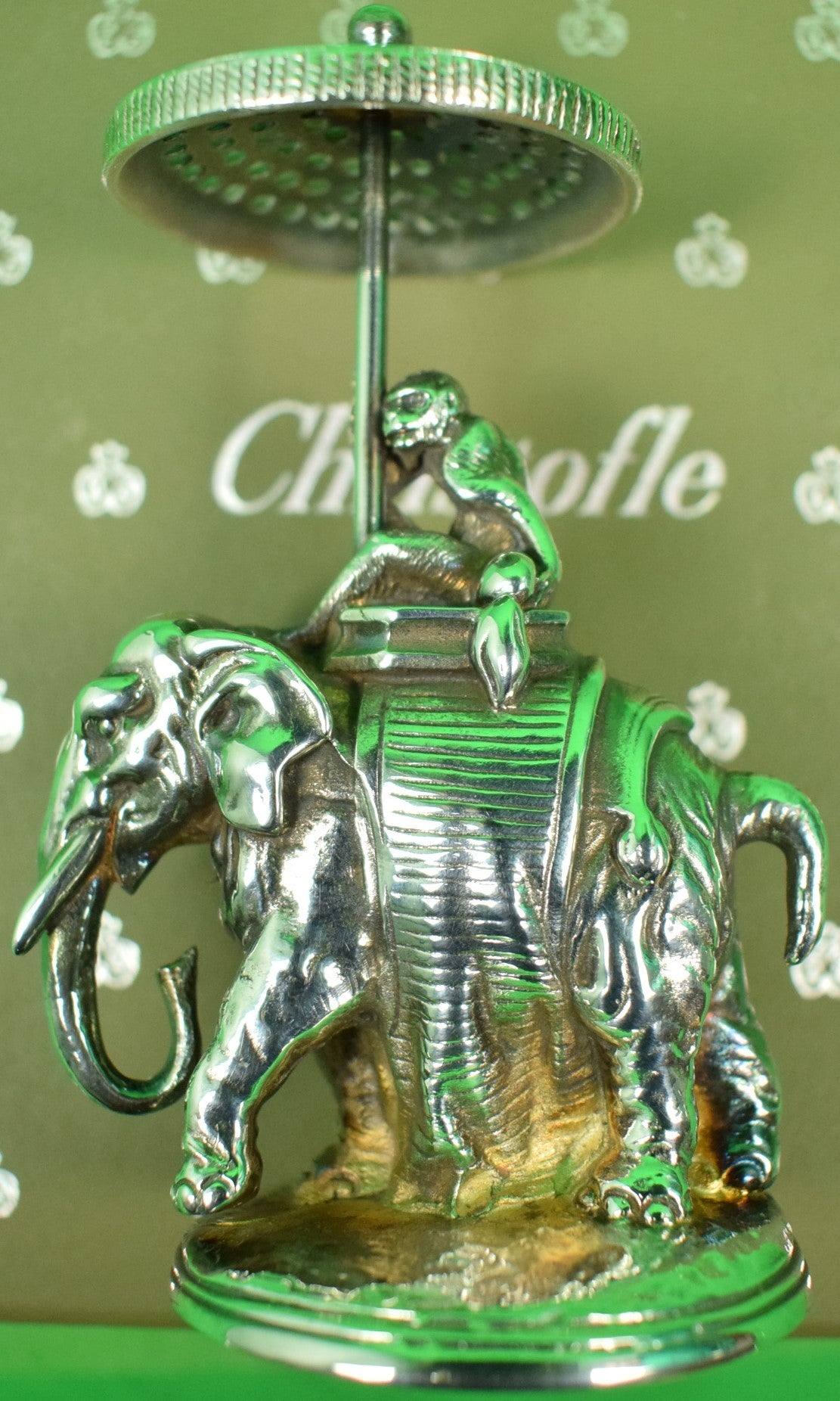 Christofle Silverplate Chinoiserie Monkey on Elephant w/ 'Toothpick' Parasol New in Box! (Sold!)
