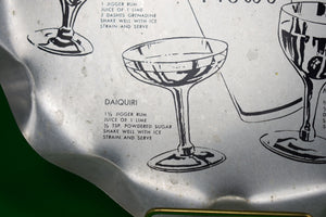 The Cocktail Hour Scallop-Edge Tin Tray w/ 7 Recipes