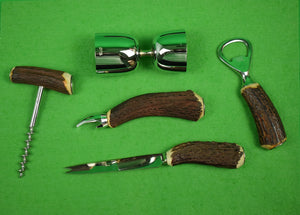 Abercrombie & Fitch 5pc Stag Horn Handle Barware Set Made in England