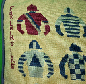 Fox Lair Silks w/ 16 Jockeys Needlepoint Pillow