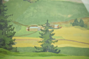 """Close To The Green"" Golf Course Watercolour & Gouache Ex-Mary S.B. Braga Estate"