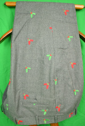"The Andover Shop Med Grey Flannel Holly Emb Pleated Trousers Sz: 42""W"