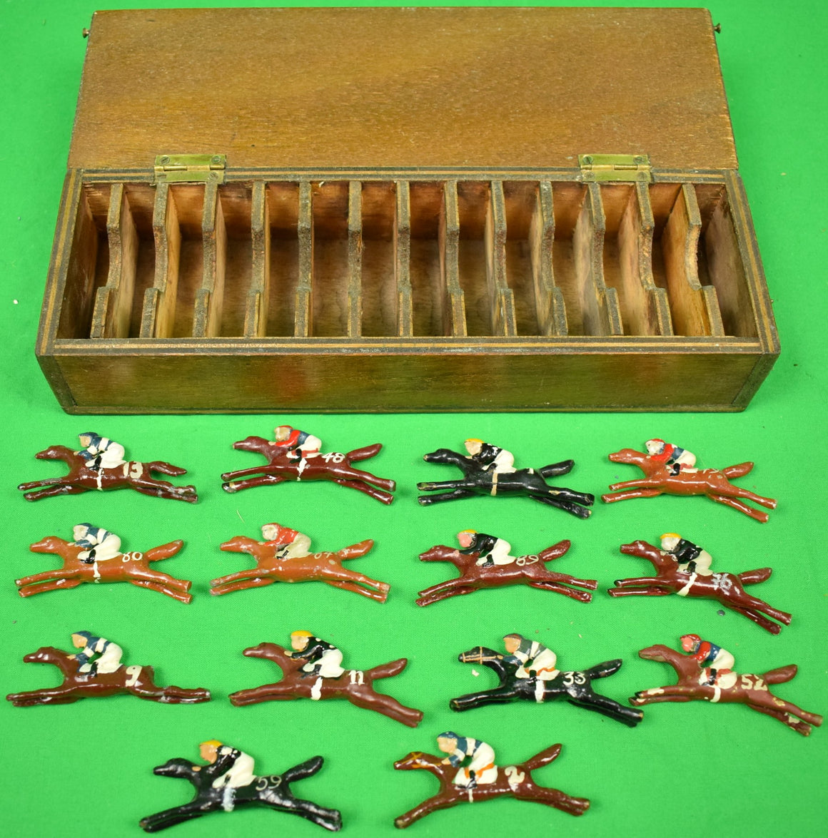 2 Box Set of 27 Hand-Painted Lead c1920s Jockeys on Racehorses