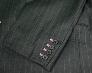 Charcoal Grey Chalk Stripe Trop (2pc) Suit Sz: 46L