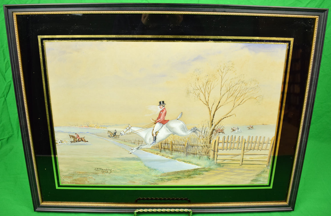 Huntsman Clearing Water Fence c1898 Gouache by H. W. Standing