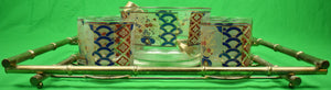 Chinoiserie 8pc Culver Barware Set w/ Bamboo Metal Tray/ Ice Bowl & Tongs