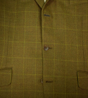 Chipp Windowpane Cashmere 3 Button Sport Jacket w/ Hunt Print Lining Sz: 44L