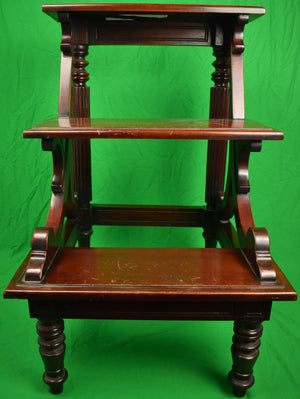 English Mahogany 19th Century Library 3 Step Ladder Ex- Holland & Holland