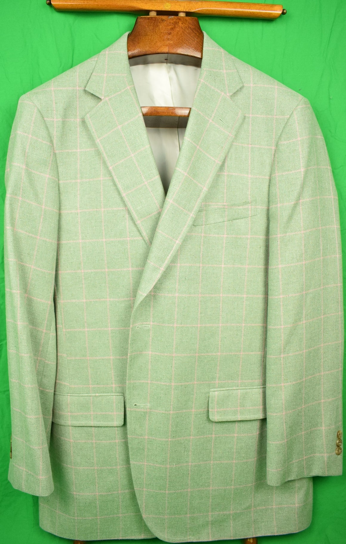 The Andover Shop Pink Windowpane w/ Celadon Herringbone Silk Sport Jacket Sz: 44 Lng New w/ Tag!