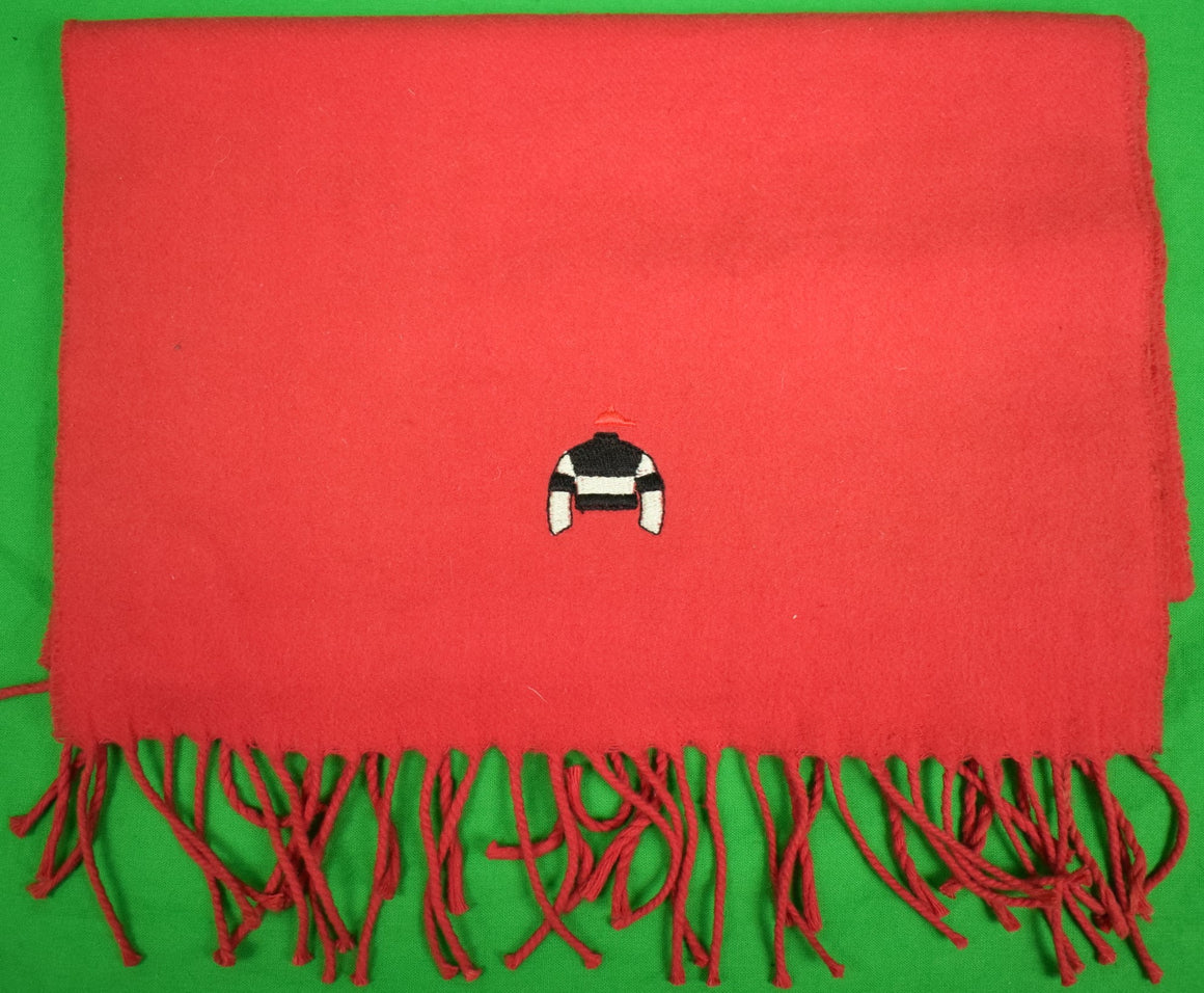 Red Scarf w/ Embroidered Black & White Jockey Silks