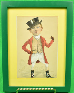 """Dapper Huntsman"" c1894 Watercolour by Reginald ?"