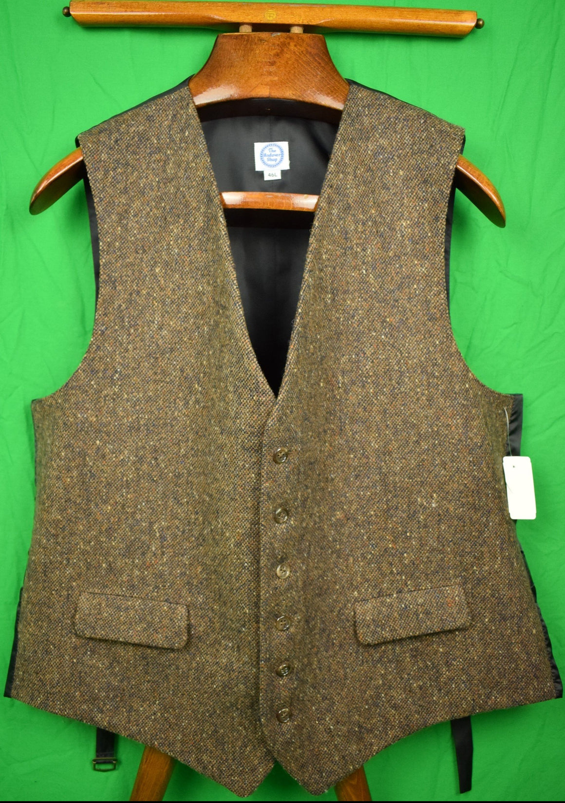 The Andover Shop Brown Donegal Tweed Post Vest Sz: 46L New w/ Tag!