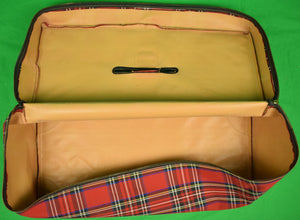 Abercrombie & Fitch Deluxe Mahogany Tackle Box w/ Royal Stewart Tartan Plaid Cover