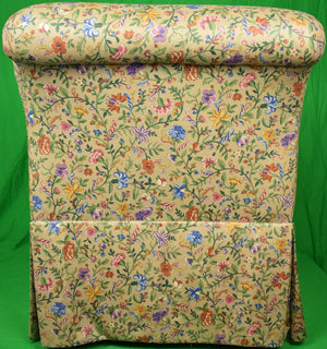 'Pair of Petite Fleur Glazed Chintz Slipper Chairs'