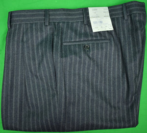 The Andover Shop Italian Wool Track Stripe Char Blue 2 Pc Suit Sz: 46L New w/ Tags!