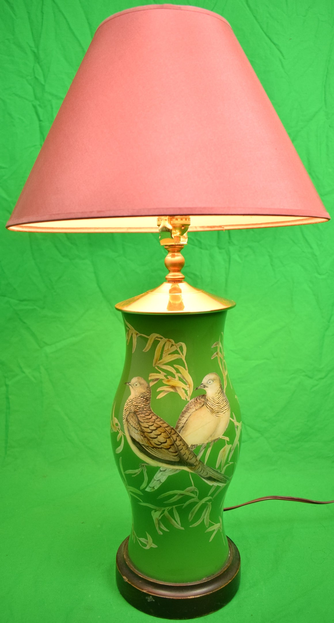 Partridge Decoupage Hurricane Lamp