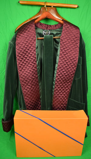 "The Andover Shop Italian Forest Green Velvet Smoking Jacket w/ Cranberry Trapunto Shawl Collar"" (SOLD!)"