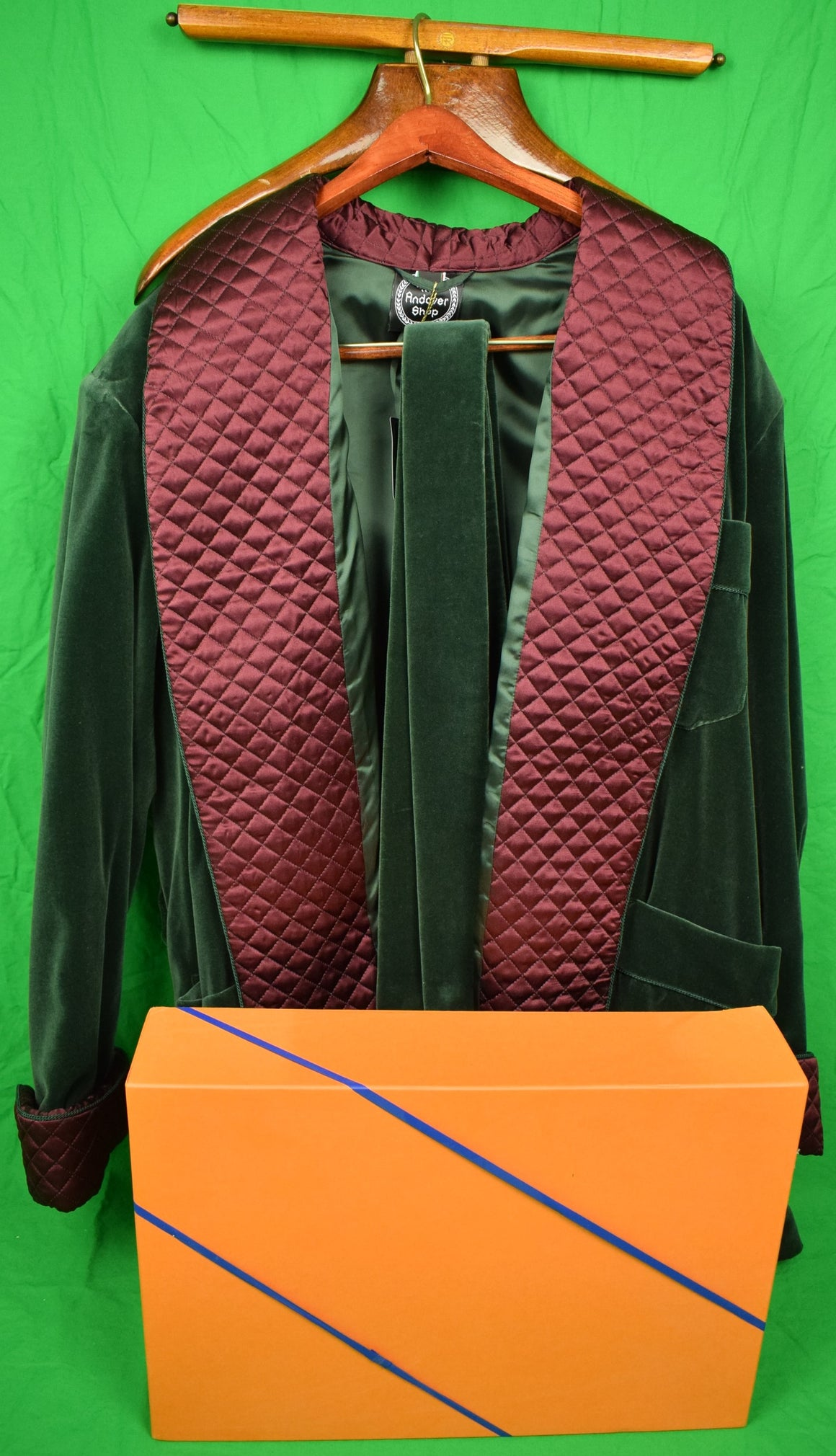 The Andover Shop Billiard Green Velvet Smoking Jacket w Burg Trapunto Shawl Collar Sz: XL