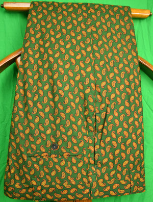 "Chipp Gold Paisley on Hunter Green Challis Trousers Sz: 34""W"
