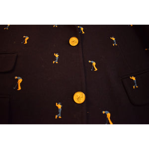 Chipp Navy Flannel Embroidered Golfer c1972 Blazer