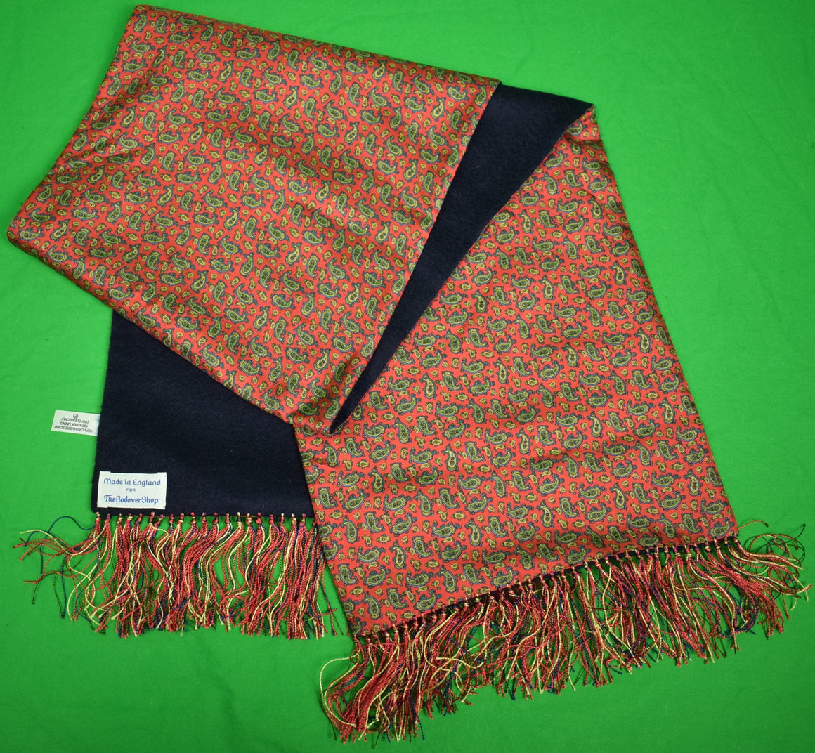 The Andover Shop Paisley Red Silk/ Navy Cashmere Reversible Scarf
