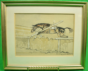 Slater Going To His Own Kind at Aintree c1935 Watercolour by Paul Brown