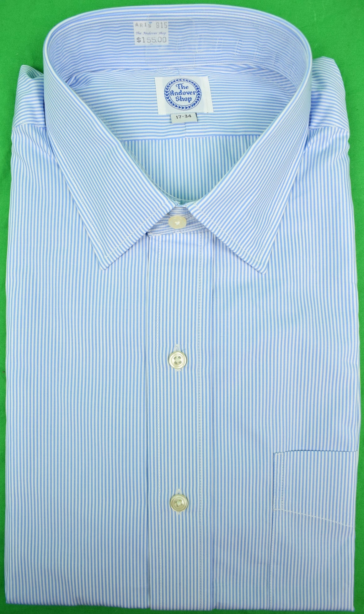 The Andover Shop Blue/ White Hairline Pinstripe Dress Shirt Sz: 17-34 (New w/ Tag!)