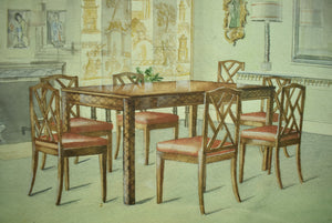 Chinoiserie Dining Room Watercolour