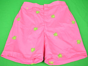 Chipp Pink Chino Shorts w/ Embroidered Lime Green Frogs