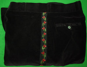 "GT Black Velvet Trousers w/ Holly Emb Side Panel Grosgrain Piping Sz: 38""W"