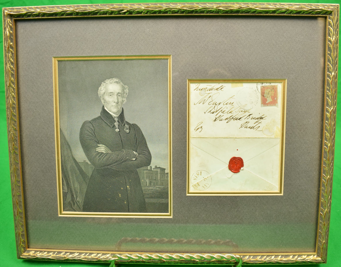 Framed English Portrait w/ c1848 1 Penny Postage Stamp/ Envelope