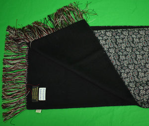The Andover Shop Paisley Black Silk/ Black Cashmere Reversible English Scarf