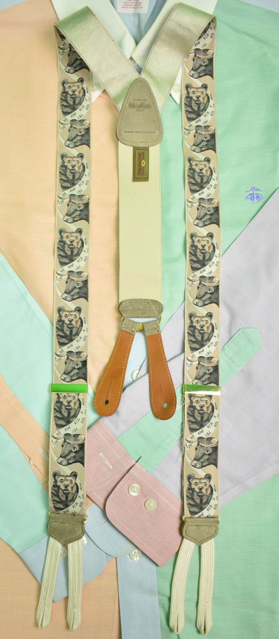 Trafalgar/ Calvin Curtis Rose Bull & Bear Design Silk Braces