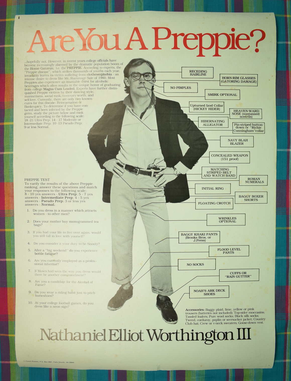Are You A Preppie? Nathaniel Elliot Worthington III c.1979 Original Poster