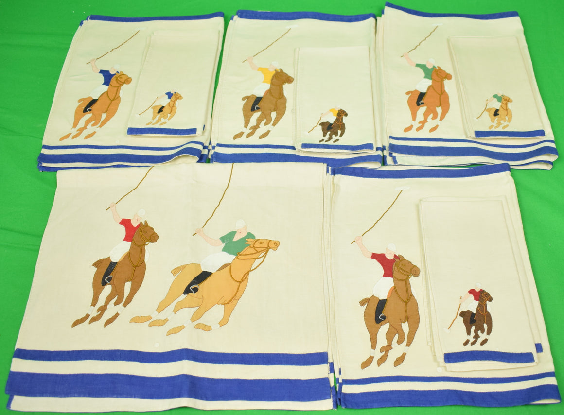 Set of 8 Madeira Linen Hand-Emb Polo Player Napkins/ Placemats & 1 Runner