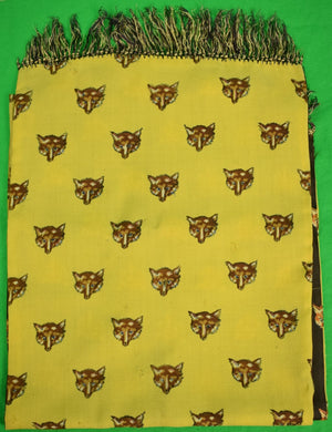 Yellow Challis/ Brown Silk Fox-Head Reversible Scarf