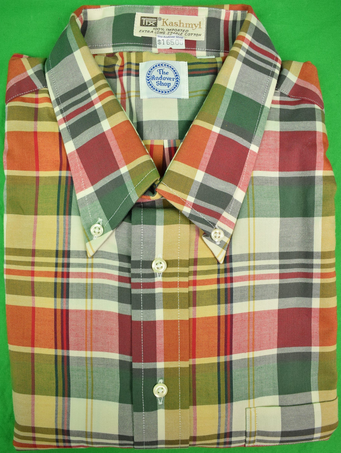 The Andover Shop TTX Kashmyl Brush Cutton BD Plaid Sport Shirt Sz: XL New w/ Tag!