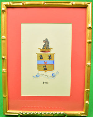 "Armorial ""Seal"" Family Crest Original Gouache Artwork"