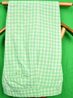 "Chipp Gingham Green Check GT Cotton Trousers Sz 34""W"