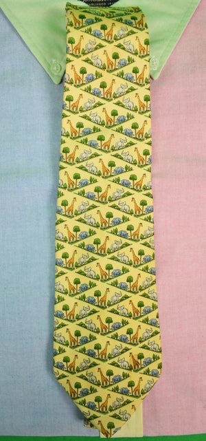 Salvatore Ferragamo Giraffe/ Elephant Yellow Silk Tie