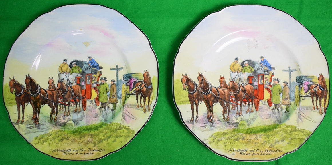 Set of 2 Mr. Pecksniff and Miss Pecksniffes Return from London English China Plates
