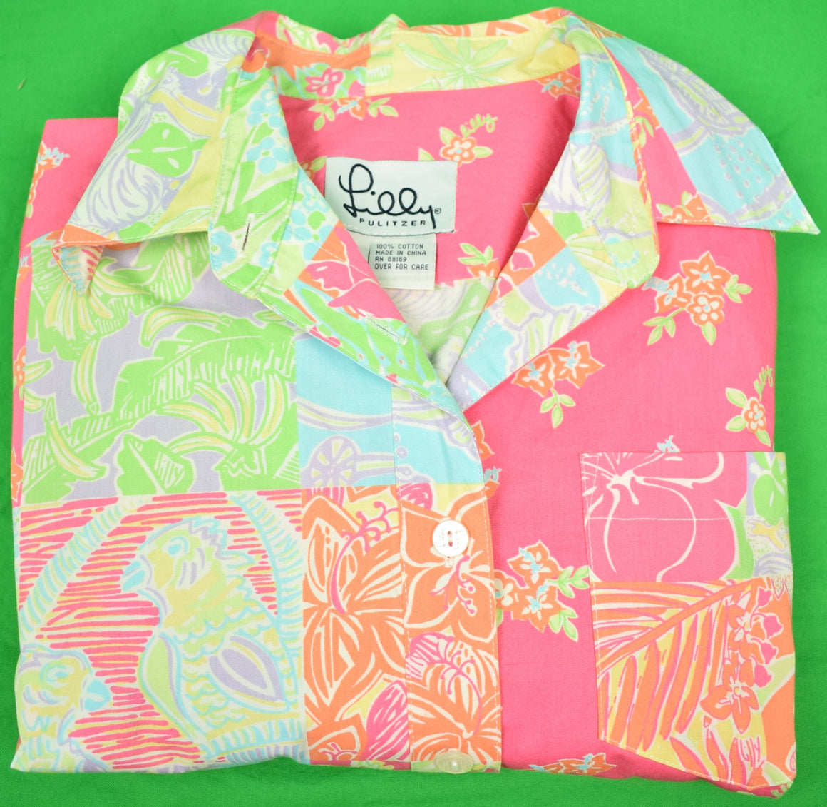 Lilly Pulitzer Patch Panel Shirt Dress w/ Multicolor Parrots & Flowers Sz. S