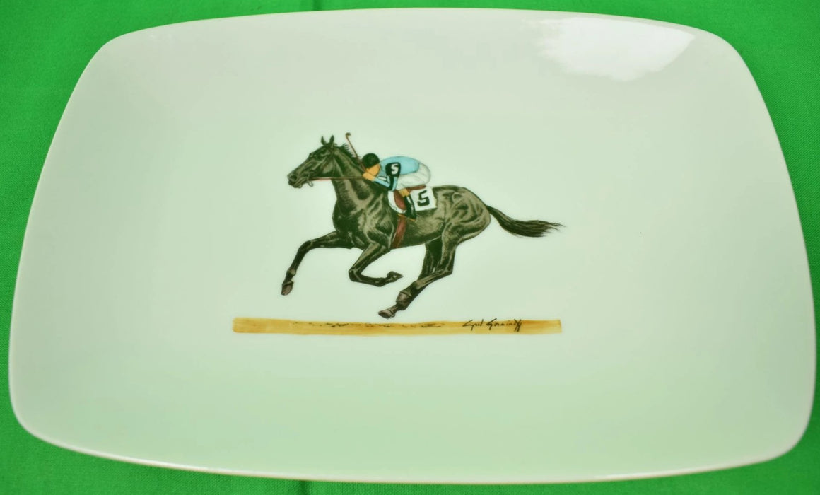 Cyril Gorainoff Hand-Painted Jockey on #5 Racehorse Ceramic Dish