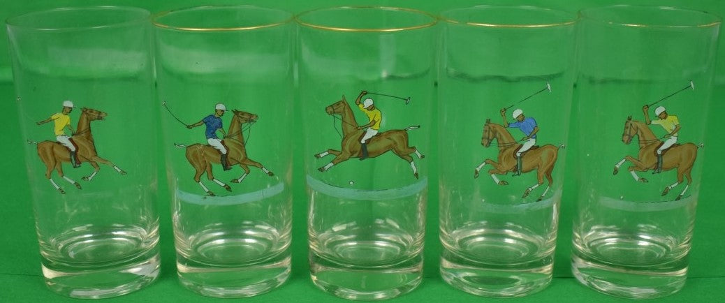 Set of (5) Yellow & Blue Jersey c1950s Polo Player Highball Glasses