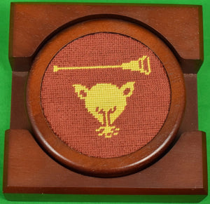Stacking Set of 4 Myopia Hunt Club Needlepoint Coasters New!
